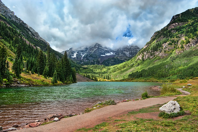 Maroon bells, misty summer morning.