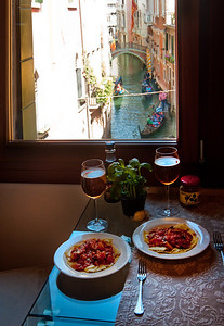 View from our flat in Venice, Italy. Fresh pomodoro and carciofi (artichoke) pasta dish made from market ingredients. Best meal ever.